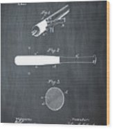 1902 Baseball Bat Patent In Chalk Wood Print
