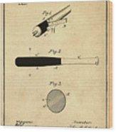 1902 Baseball Bat Patent In Sepia Wood Print