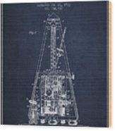 1903 Electric Metronome Patent - Navy Blue Wood Print
