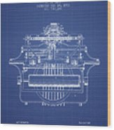 1903 Type Writing Machine Patent - Blueprint Wood Print