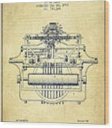 1903 Type Writing Machine Patent - Vintage Wood Print