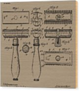 1904 Gillette Razor Patent Drawing Wood Print
