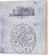1908 Pocket Watch Patent Blueprint Wood Print