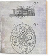 1908 Pocket Watch Patent  Wood Print