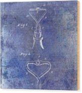 1909 Cork Extractor Patent Blue Wood Print