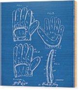 1910 Baseball Glove Patent Artwork Blueprint Wood Print