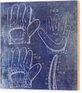 1910 Baseball Glove Patent Blue Wood Print