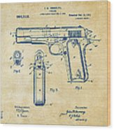1911 Colt 45 Browning Firearm Patent Artwork Vintage Wood Print