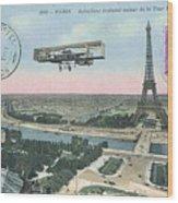1911 Paris Eiffel Tower Colorized Postcard Wood Print