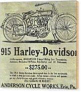 1915 Harley Davidson Advertisement Wood Print