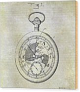 1916 Pocket Watch Patent Wood Print