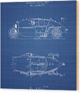 1917 Racing Vehicle Patent - Blueprint Wood Print