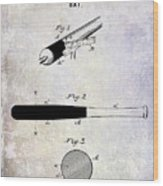 1920 Baseball Bat Patent Wood Print