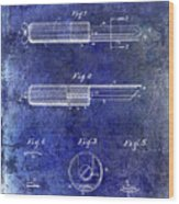 1920 Paring Knife Patent Blue Wood Print