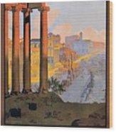 1920 Paris To Rome Train Travel Poster Wood Print