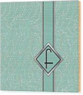 1920s Blue Deco Jazz Swing Monogram ...letter F Wood Print