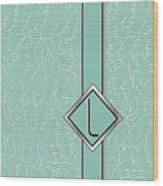 1920s Blue Deco Jazz Swing Monogram ...letter L Wood Print