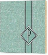 1920s Blue Deco Jazz Swing Monogram ...letter P Wood Print