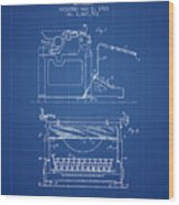 1923 Typewriter Screen Patent - Blueprint Wood Print
