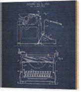 1923 Typewriter Screen Patent - Navy Blue Wood Print
