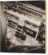 1924 Hispano-suiza H6b Dual  Cowl Sport Phaeton Engine Emblem -0258s Wood Print