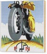 1925 Fn Motorcycles Advertising Poster Wood Print