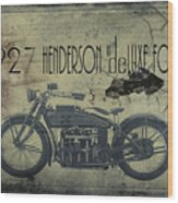 1927 Henderson Vintage Motorcycle Wood Print by Cinema Photography