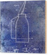 1927 Oil Can Patent Blue Wood Print