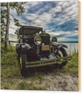 1930 Chevy On The Shore Of Higgins Lake Wood Print