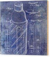 1930 Cocktail Shaker Patent Blue Wood Print