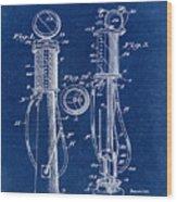 1930 Gas Pump Patent In Blue Wood Print