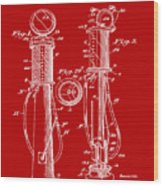 1930 Gas Pump Patent In Red Wood Print