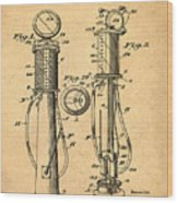 1930 Gas Pump Patent In Sepia Wood Print