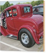 1930 Red Ford Model A-rear-8902 Wood Print