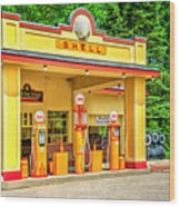 1930s Shell Gas Station Wood Print