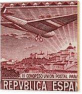 1931 Airplane Over Madrid Spain Stamp Wood Print