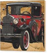 1931 Ford Model A Fire Truck Wood Print