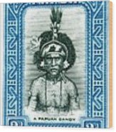 1932 Papua New Guinea Native Dandy Postage Stamp Wood Print