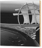 1934 Plymouth Hood Ornament Black And White Wood Print