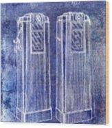 1936 Gas Pump Patent Blue Wood Print
