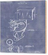 1936 Toilet Bowl Patent Blue Grunge Wood Print