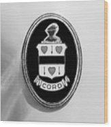1937 Cord 812 Sc Phaeton Emblem -1203bw2 Wood Print