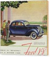 1937 Ford Car Ad Wood Print