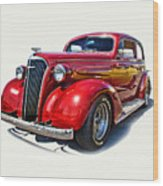 1937 Red Chevy Master Deluxe Wood Print by Mamie Thornbrue