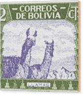 1939 Bolivia Llamas Postage Stamp Wood Print