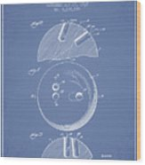 1939 Bowling Ball Patent - Light Blue Wood Print