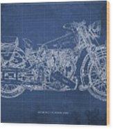 1939 Brough Superior Ss100 Blueprint Blue Background Wood Print
