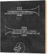 1940 Trumpet Patent Illustration Wood Print