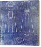 1940 Waitress Uniform Patent Blue Wood Print