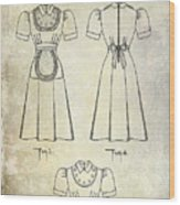 1940 Waitress Uniform Patent Wood Print